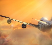 Boeing 747 flying into the sunset.