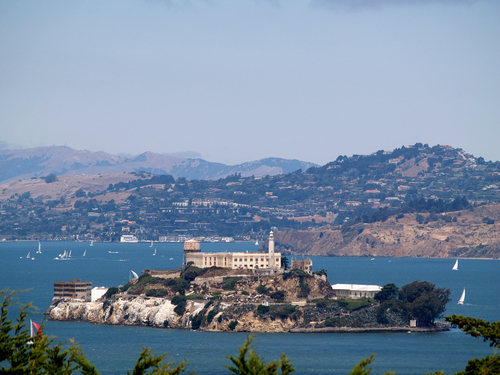 Alcatraz Island San Francisco Bay as seen from the city.
