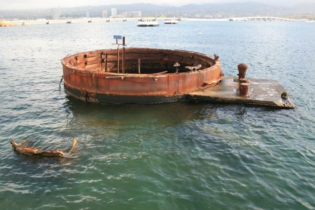 USS Missouri Oil leak often referred to as 'black tears' or 'tears of the Arizona'
