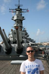 Jason Dutton-Smith on deck of USS Missouri - Pearl Harbour Hawaii
