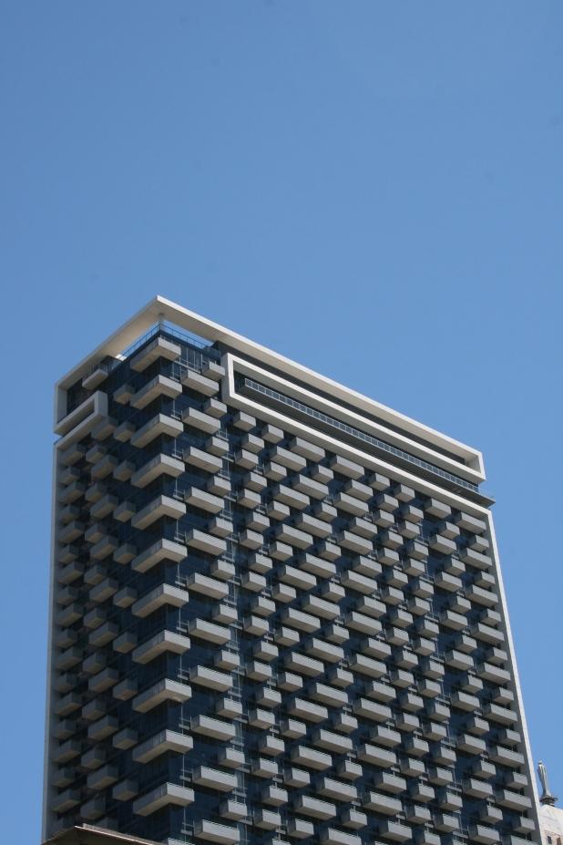 Unusual balcony design on CBD apartments - Photo Credit Jason Dutton-Smith