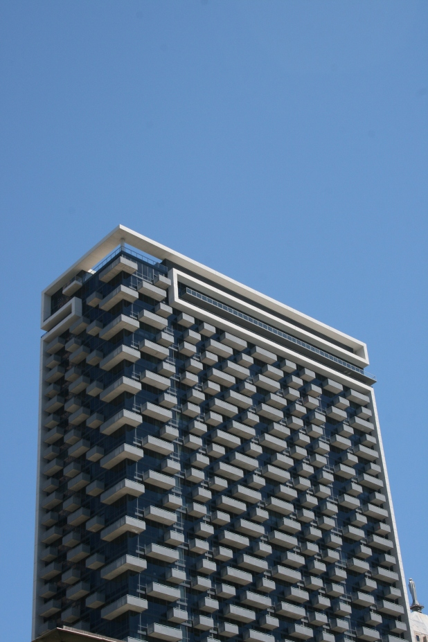 Unusual balcony design on CBD apartments - Photo Credit Jason Dutton-Smith