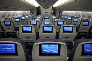 Typical international economy seat back entertainment as shown on the 787