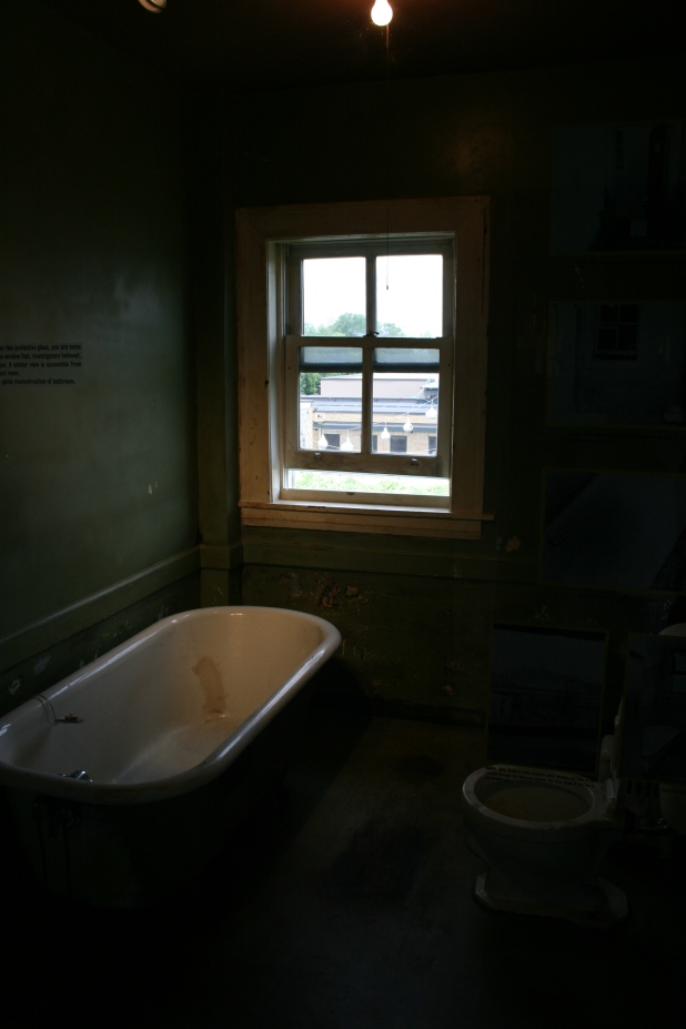 Bathroom window where the fateful shot rang out