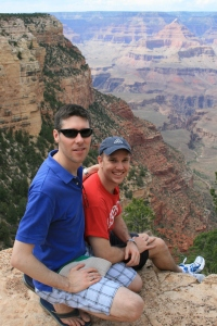 Sitting on the Grand Canyon edge