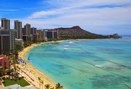The famous Waikiki Beach, Hawaii.