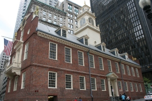Old State House corner in historic downtown Boston
