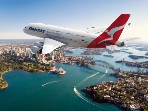 Qantas A380 over Sydney Harbour