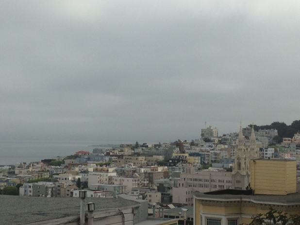 View from top of stairs - 28 Barbary Lane. Overlooking the foggy bay and city.