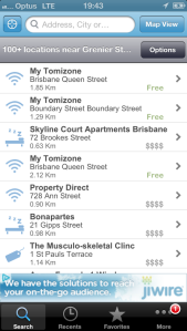 Wi-Fi Finder List View