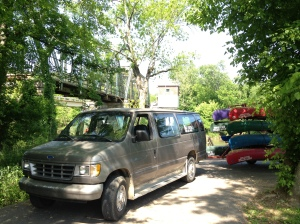 Transport and canoes at our launch area.
