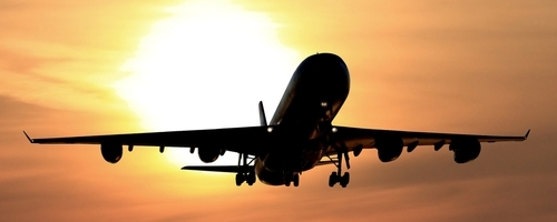 A340 sunset take off