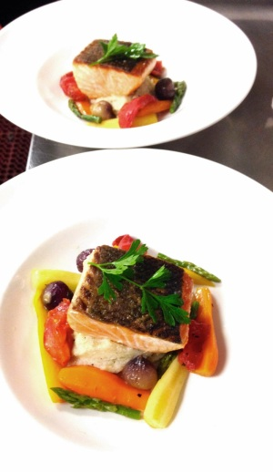 Cognac Scottish Salmon, truffled mash, organic baby root vegetables - Image courtesy Cognac Restaurant