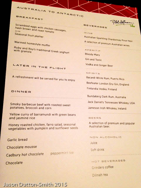 Antarctic Qantas flight menu