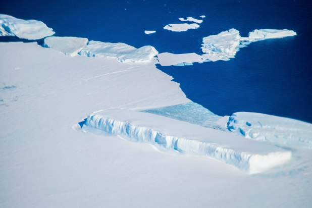 New icebergs forming on the edge of the ice continent.