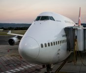 Our big bird; the mighty Qantas Boeing 747-400 on arrival back to Adelaide.