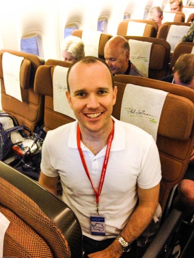 Onboard Qantas 747 charter flight Adelaide to Antarctica.