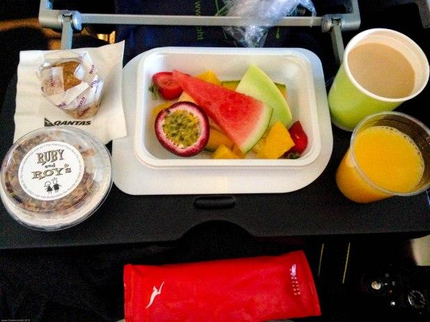 Breakfast onboard Qantas 747-400 Adelaide to Antarctica.