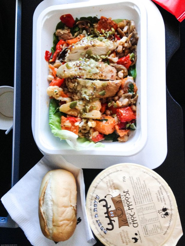 Qantas international meals - today's dinner was honey roasted chicken salad.