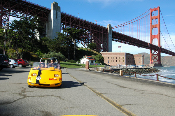 GoCar San Francisco underneath the famous Golden Gate Bridge.