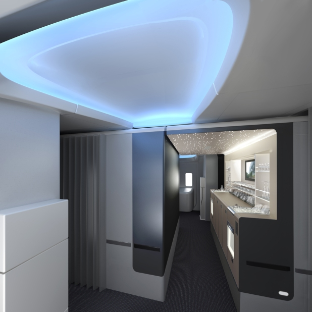 American Airlines 777-300ER stand up bar