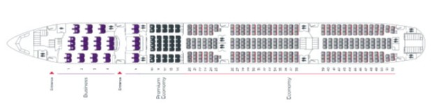 Virgin Australia 777-300ER seat map.