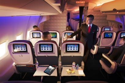 Delta Comfort+ seats on a Boeing 757-200ER (75S). - These images are protected by copyright. Delta has acquired permission from the copyright owner to the use the images for specified purposes and in some cases for a limited time. If you have been authorized by Delta to do so, you may use these images to promote Delta, but only as part of Delta-approved marketing and advertising. Further distribution (including proving these images to third parties), reproduction, display, or other use is strictly prohibited.