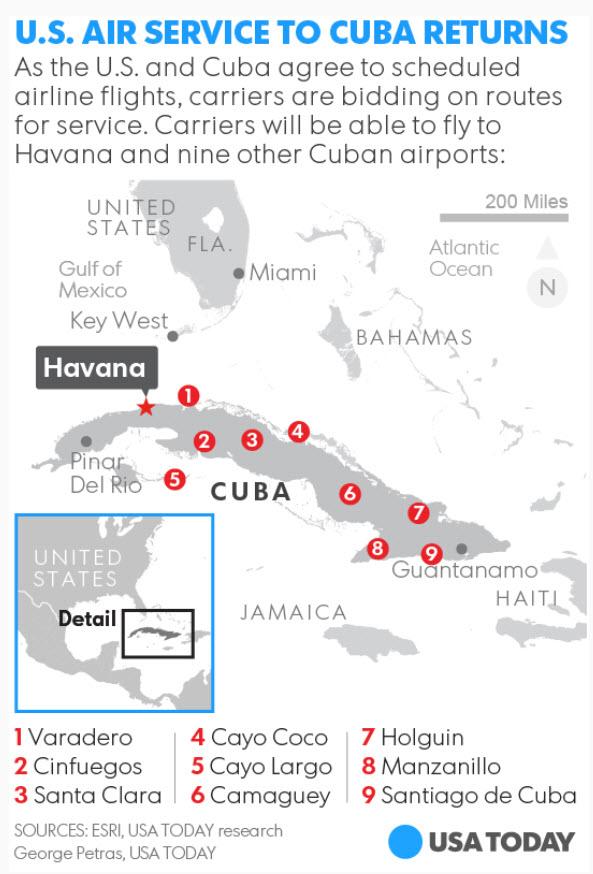 Cuba Airports Map