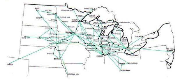 North Central 1970 route map. Source - AirTimes