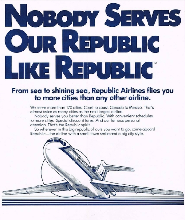 A familiar Republic Airlines ad from the early 1980s