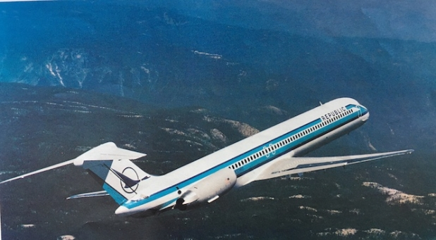 A McDonnell Douglas promo photo of a Republic DC-9 Super 80 inflight.