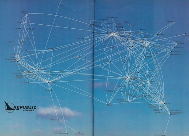 Republic operated an extensive coast to coast route network after the buyout of Hughes Airwest. This Republic route map is from 1983.
